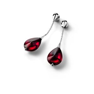 💎 FLEURS DE SYDELIC RED TEARDROP DROP EARRINGS